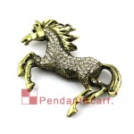 Antique Bronze Rhinestones Fly Horse Jewelry Scarf Pendant AC0309