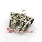 Metal Silver Alloy Stars Jewellery Scarf Slide Tube, AC0010A